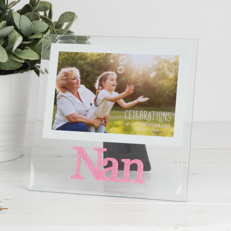 "4"" x 6"" - Glass Pink Glitter Photo Frame - Nan product image"
