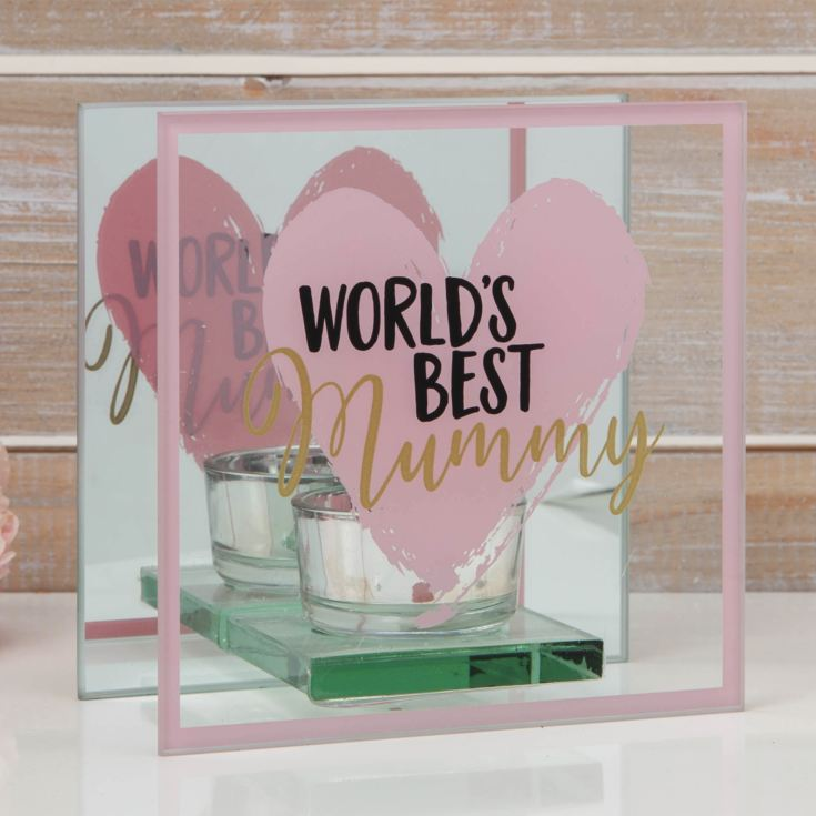 Glass Tealight Holder - World's Best Mummy product image