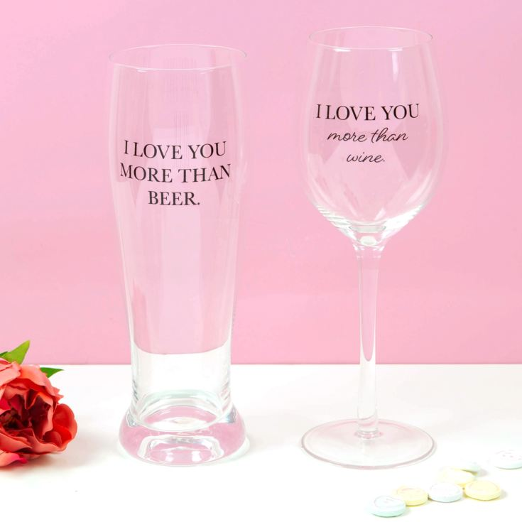 True Love His & Hers Beer & Wine Glass Set product image