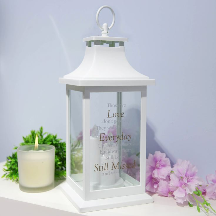 Thoughts of You White Memorial Lantern - Still Missed product image