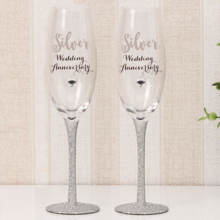 Celebrations Champagne Flutes Set of 2 - Silver Anniversary product image