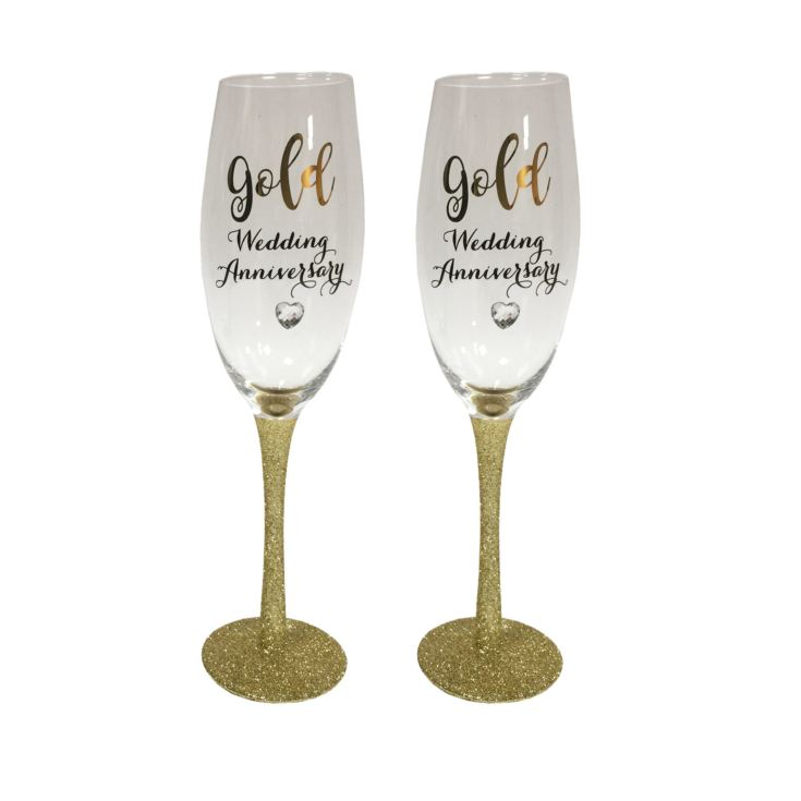 Celebrations Champagne Flutes Set of 2 - Golden Anniversary product image