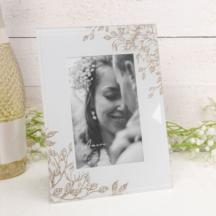 "4"" x 6"" - Amore Pale Grey Glass Gold Floral Frame product image"