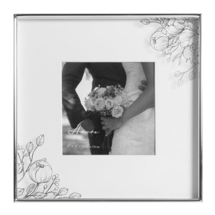 "4"" x 4"" - AMORE BY JULIANA® Silver Plated Floral Photo Frame product image"