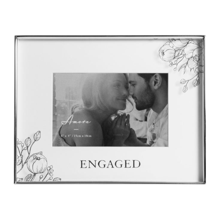 "6"" x 4"" - Amore Silver Foil Floral Detail Frame - Engaged product image"