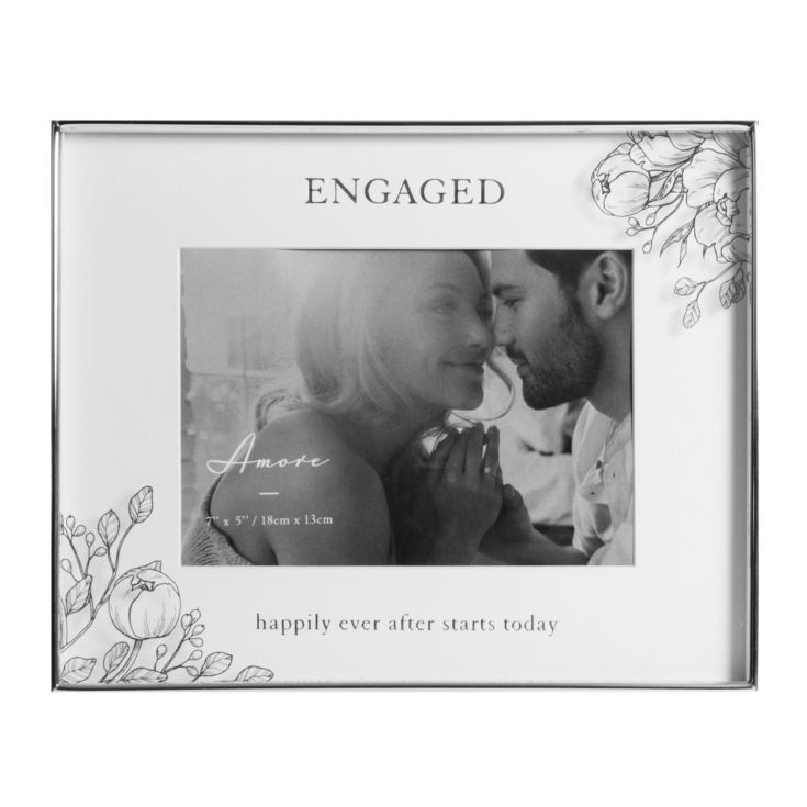 "7"" x 5"" - Silver Foil Floral Frame - Engaged Happily... product image"
