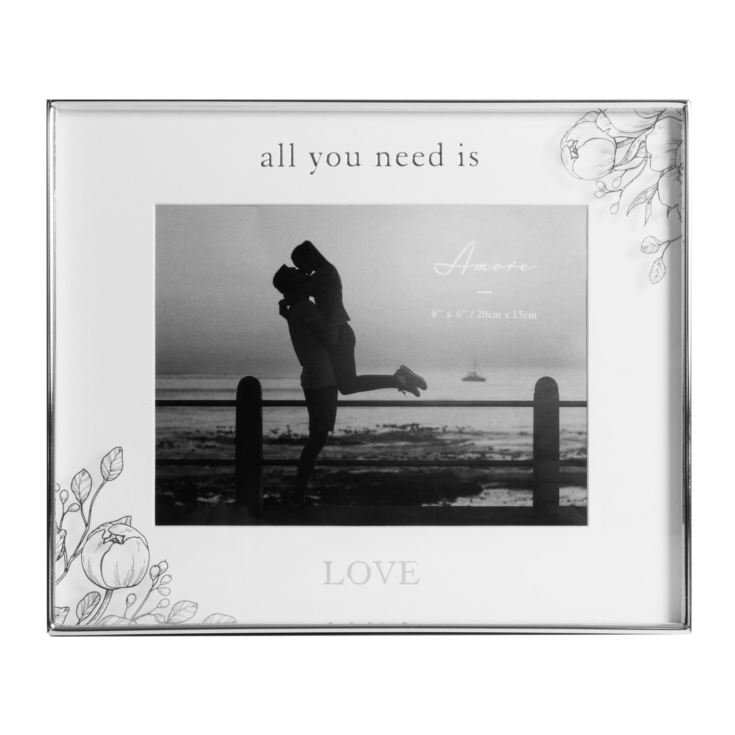 "8"" x 6"" - Silver Foil Floral Frame - All You Need Is Love product image"