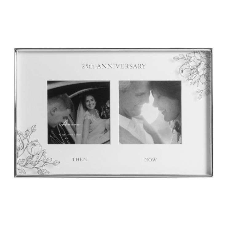 "4"" x 4""- Silver Foil Floral Double Frame - 25th Anniversary product image"
