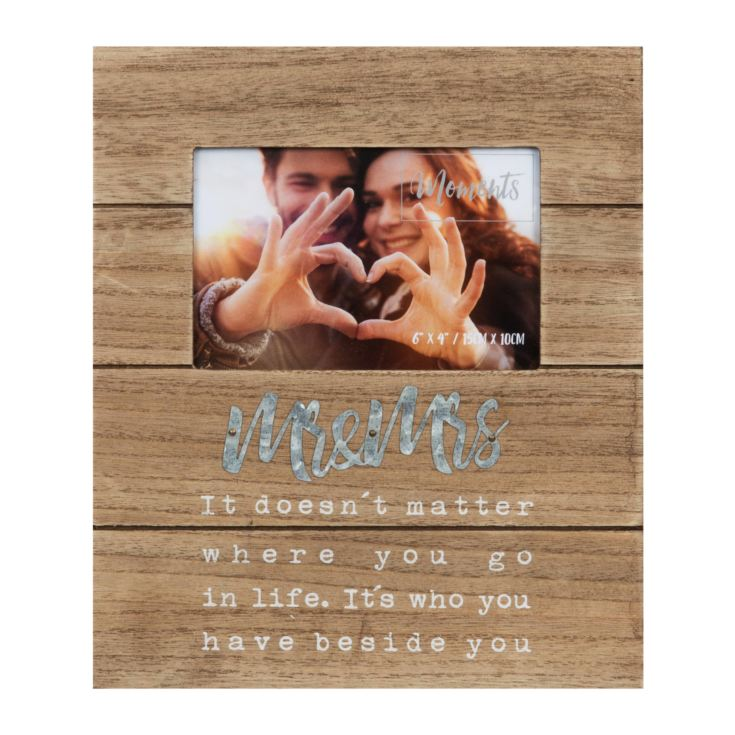 "6"" x 4"" - Mr & Mrs Natural Wood Finish Frame product image"