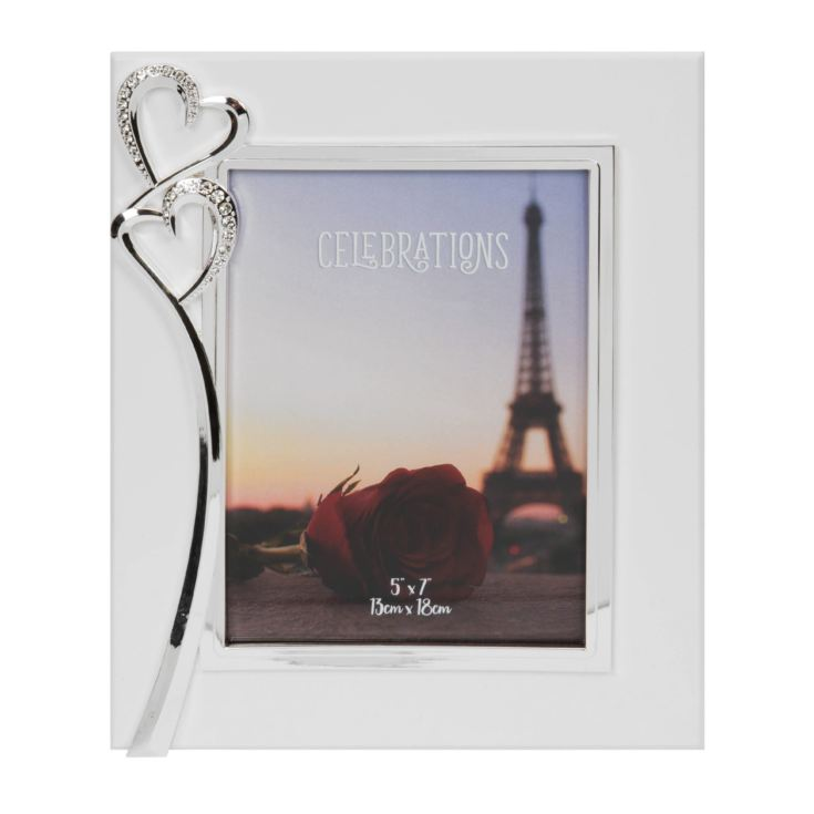 "5"" x 7"" - Silver Plated & Crystal Double Heart Photo Frame product image"