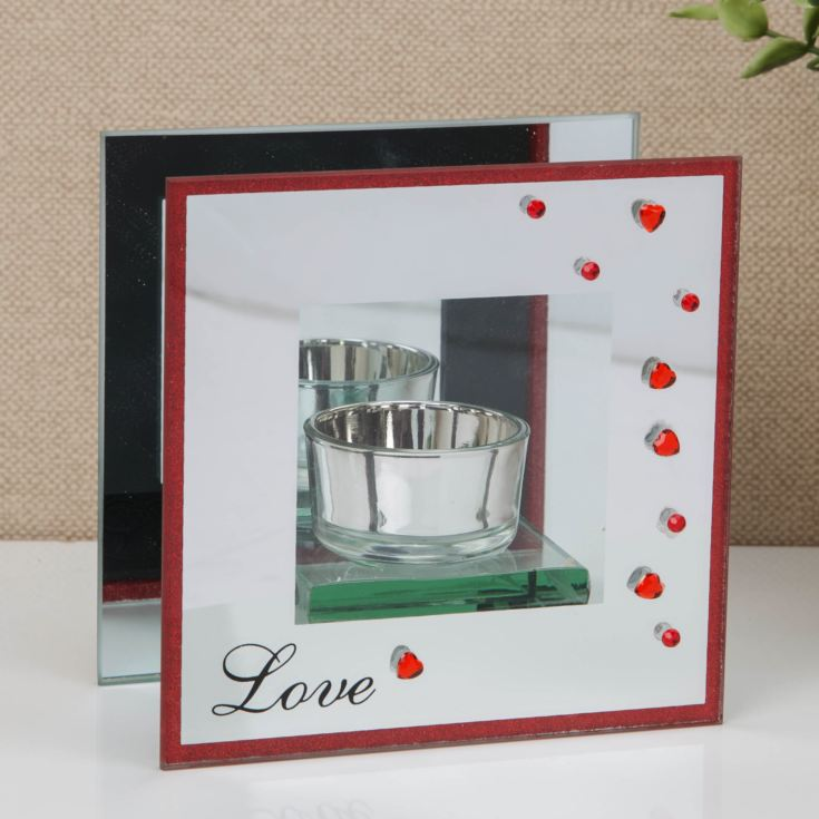 Glass Tealight Holder with Red Diamante Hearts - LOVE product image