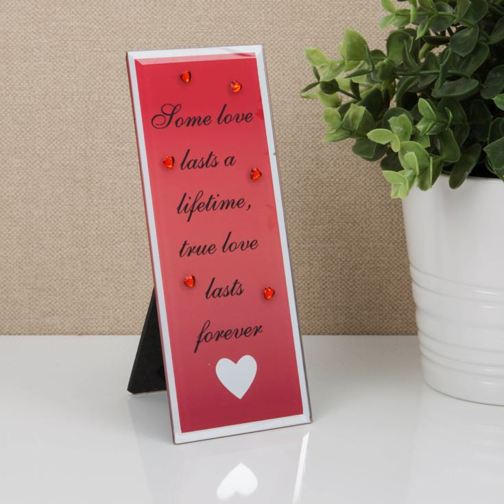 Glass Plaque with Heart Icon - True Love Lasts Forever product image
