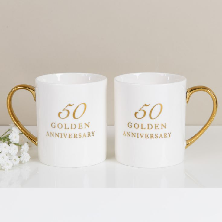 Amore Set of 2 Bone China Mugs - 50th Anniversary product image