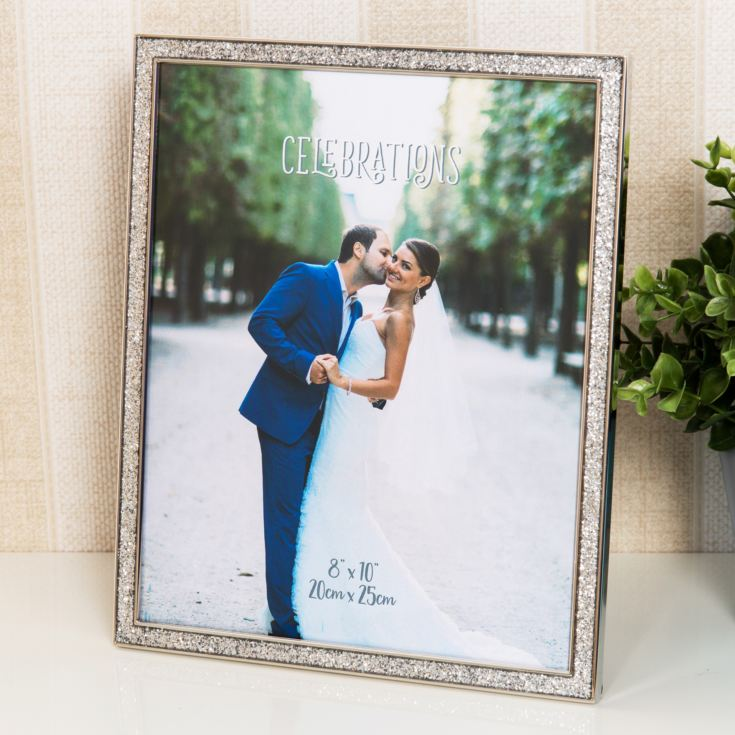 "8"" x 10"" - Celebrations Silver Glitter Epoxy Photo Frame product image"