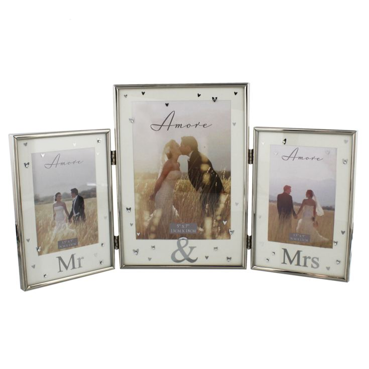 AMORE BY JULIANA® Silver Plated Triple Photo Frame - Mr & Mr product image