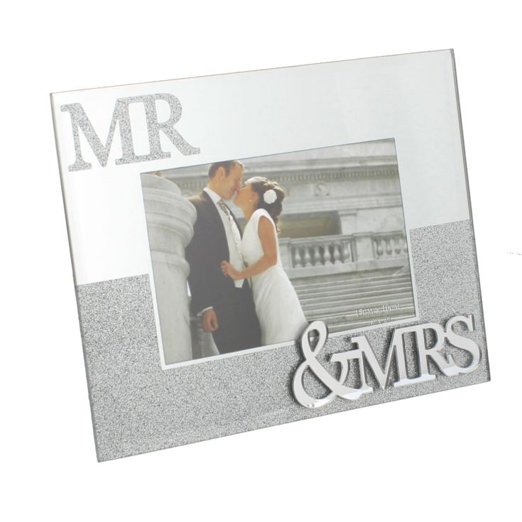 "6"" x 4"" - Mirror Glass & Glitter Photo Frame - Mr & Mrs product image"