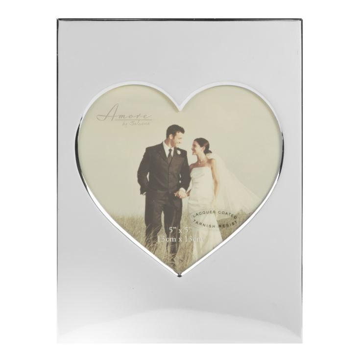 "5"" x 5"" - Amore Silverplated Heart Photo Frame product image"