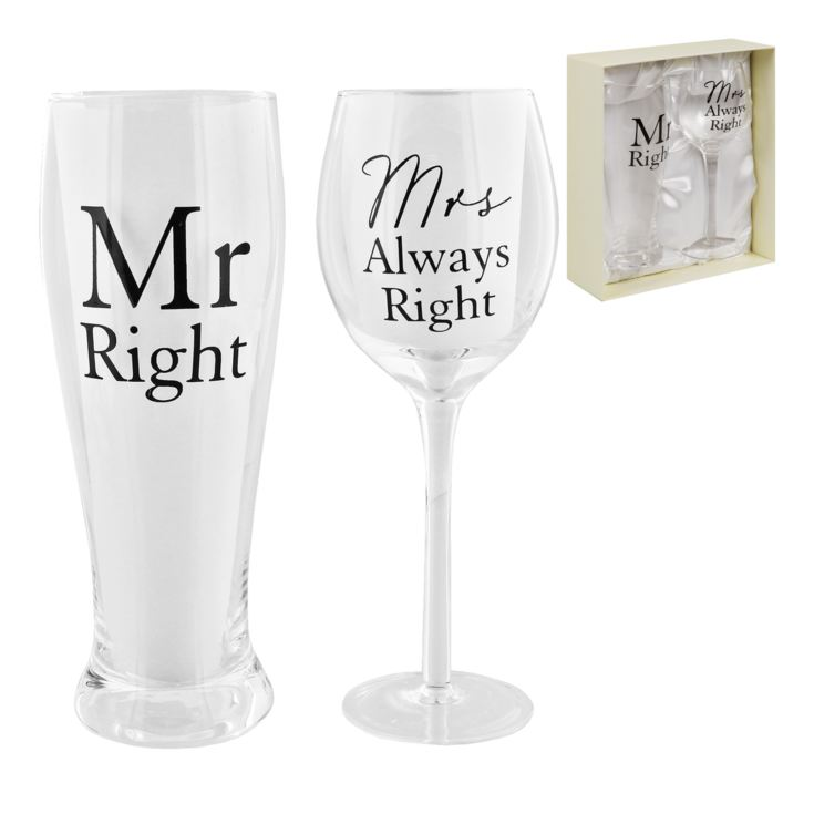 AMORE BY JULIANA® Glass Set - Mr Right & Mrs Always Right product image