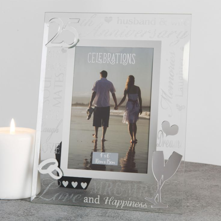 "4"" x 6"" - Mirror Glass & Glitter Frame - 25th Anniversary product image"