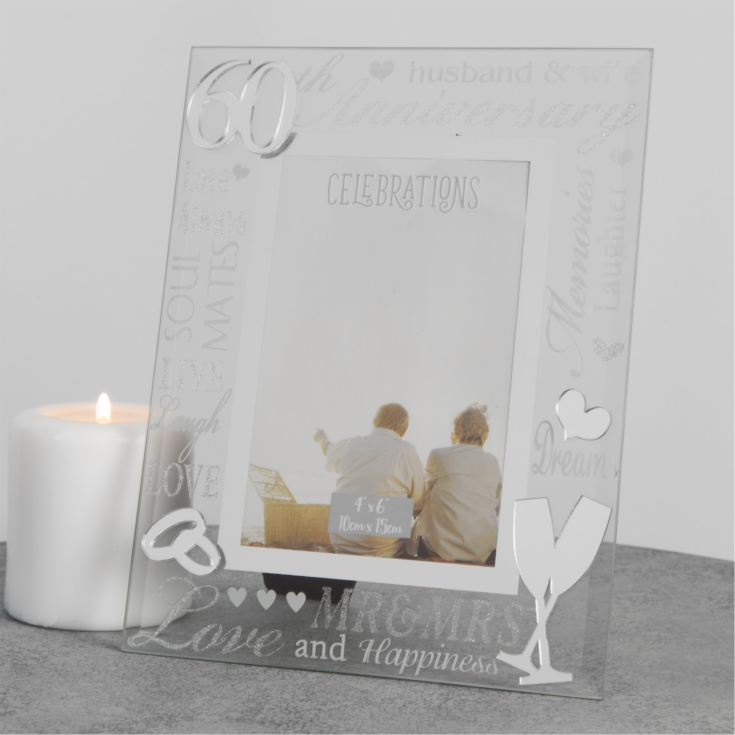 "4"" x 6"" - Mirror Glass & Glitter Frame - 60th Anniversary product image"