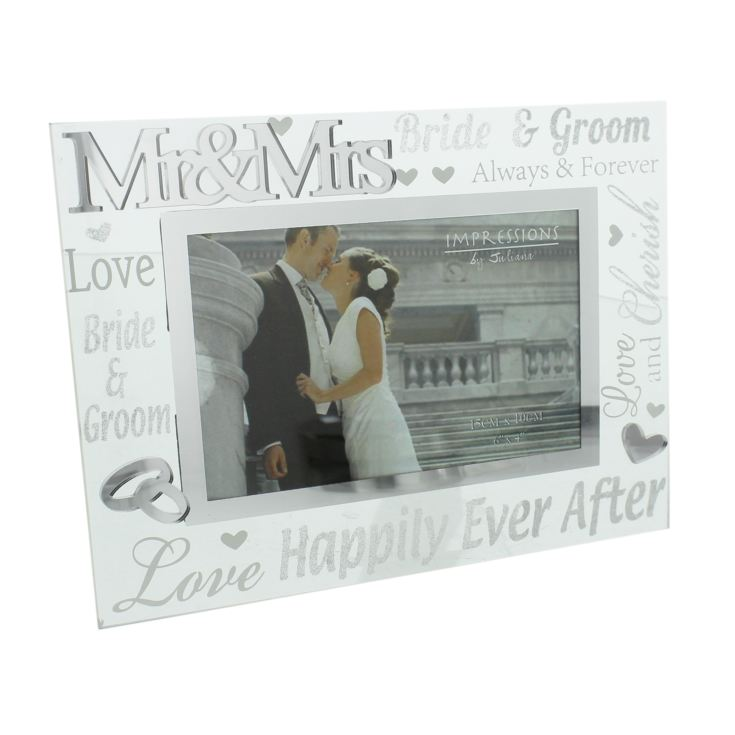 "6"" x 4"" - Mirror Glass & Glitter Frame - Mr & Mrs product image"