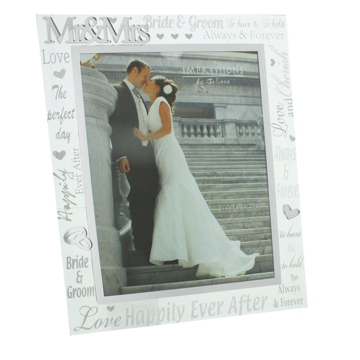 "8"" x 10"" - Mirror Glass & Glitter Frame - Mr & Mrs product image"