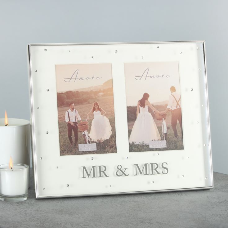 "4"" x 6"" - AMORE BY JULIANA® Silver Double Frame - Mr & Mrs product image"