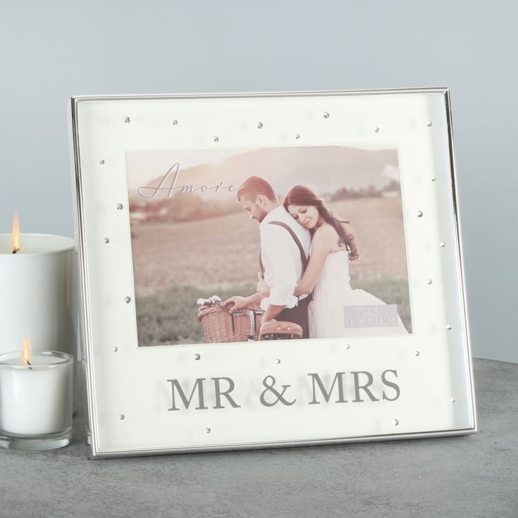 "7"" x 5"" - AMORE BY JULIANA® Frame with Crystals - Mr & Mrs product image"