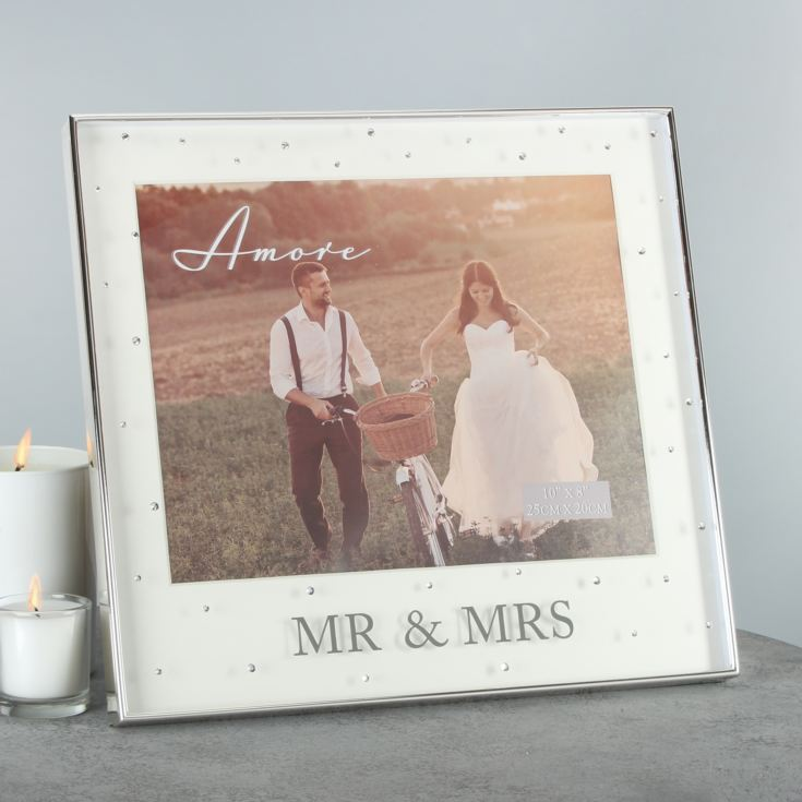 "10"" x 8"" - Amore Silver Plated Frame with Crystals Mr & Mrs product image"
