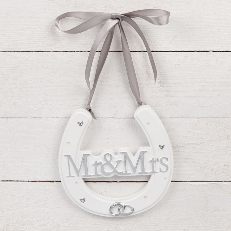 AMORE BY JULIANA® White Resin Horse Shoe - Mr & Mrs product image