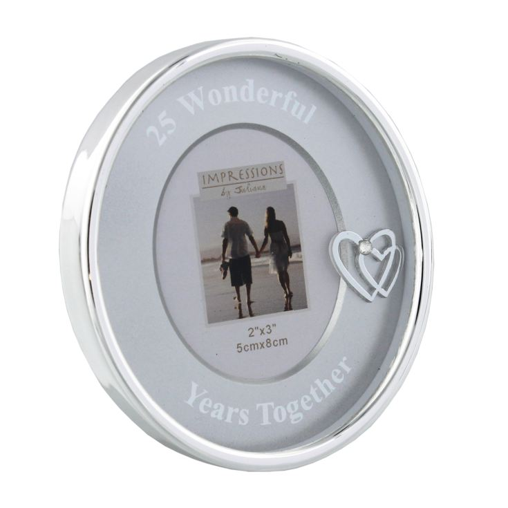 "2"" x 3"" - Silver Plated Oval Frame - 25th Anniversary product image"
