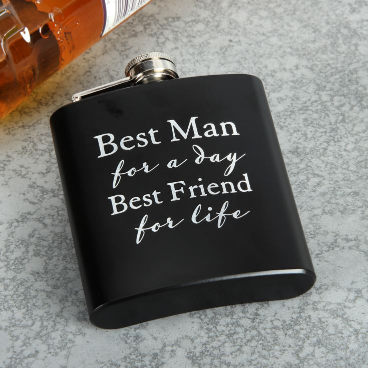 AMORE BY JULIANA® 6oz Hip Flask - Best Man For A Day... product image