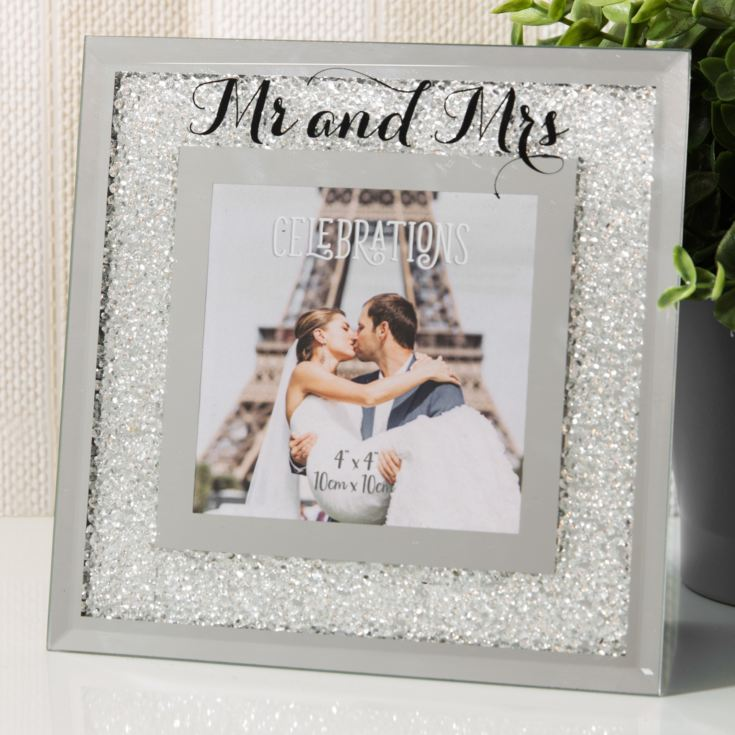 "4"" x 4"" - Celebrations Crystal Border Frame - Mr & Mrs product image"