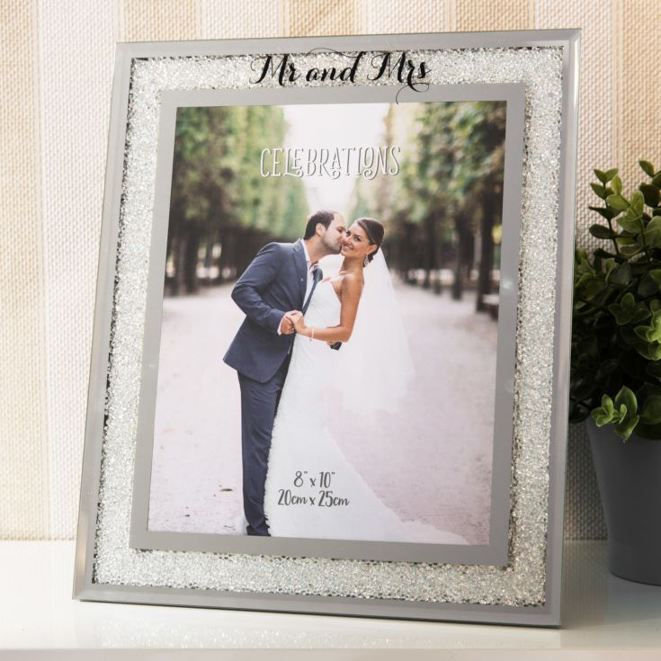 "8"" x 10"" - Celebrations Crystal Border Frame - Mr & Mrs product image"