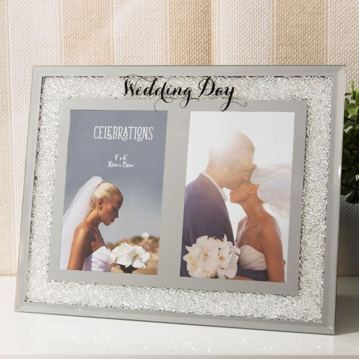 "4"" x 6"" - Celebrations Crystal Double Frame - Wedding Day product image"