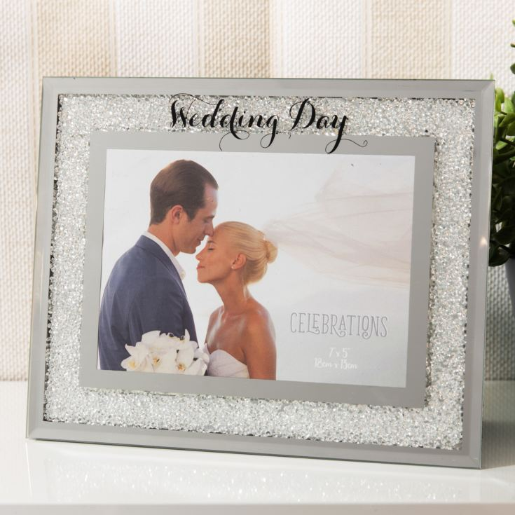 "7"" x 5"" - Celebrations Crystal Border Frame - Wedding Day product image"