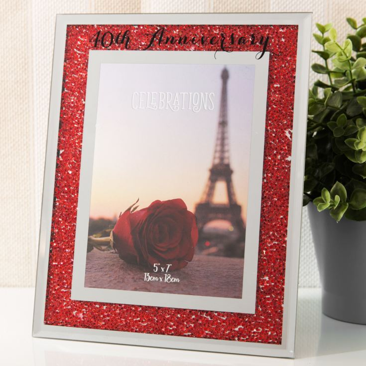 "5"" x 7"" - Celebrations Crystal Frame - 40th Anniversary product image"
