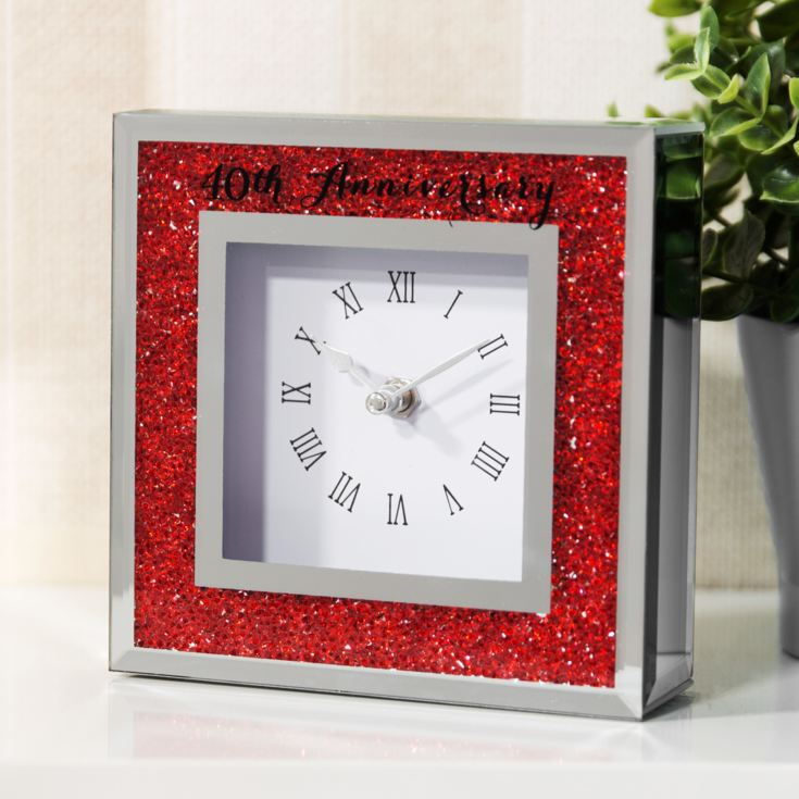 Celebrations Crystal Border Mantel Clock - 40th Anniversary product image