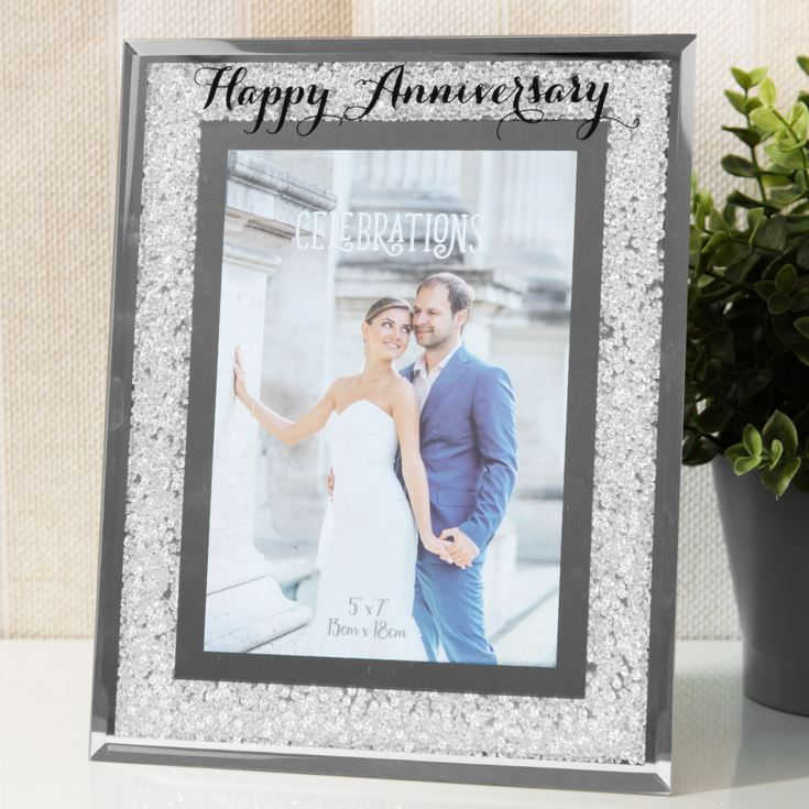 "5"" x 7"" - CELEBRATIONS® Crystal Frame - Happy Anniversary product image"