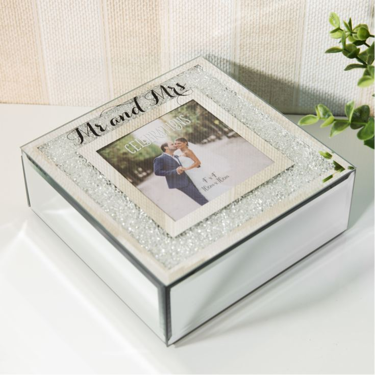 Celebrations Crystal Border Frame Trinket Box - Mr & Mrs product image