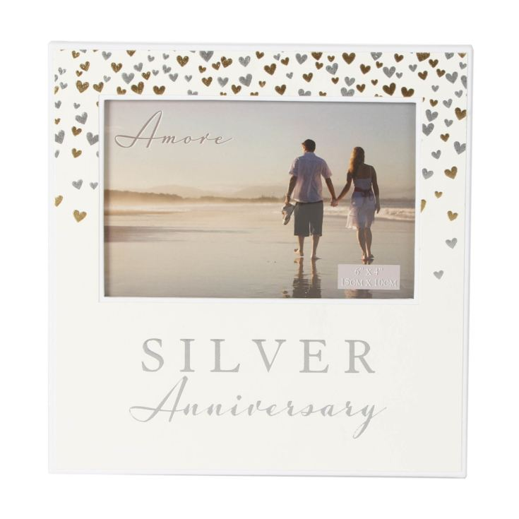 "6"" x 4"" - AMORE BY JULIANA® Photo Frame Silver Anniversary product image"