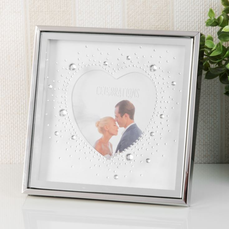 "4"" x 4"" - Celebrations Heart Box Frame with Crystals product image"