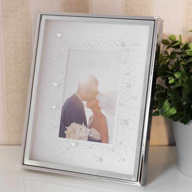 "4"" x 6"" - Celebrations Silverplated Box Frame with Crystals product image"