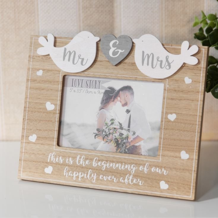"5"" x 3.5"" - Love Story Birds Frame - Mr & Mrs product image"