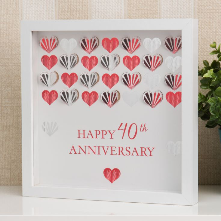 Celebrations White Framed Wall Plaque - 40th Anniversary product image