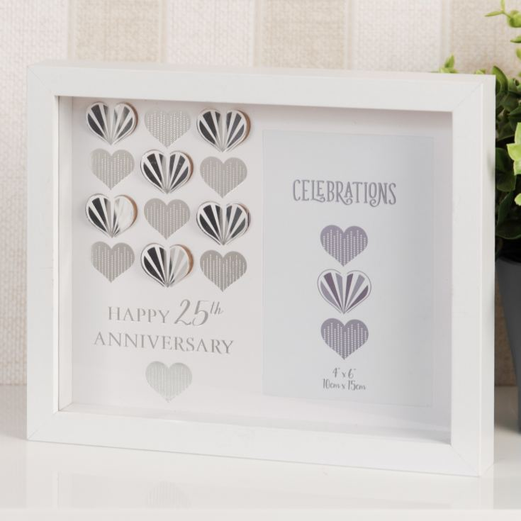 "4"" x 6"" - Celebrations White Wall Frame - 25th Anniversary product image"