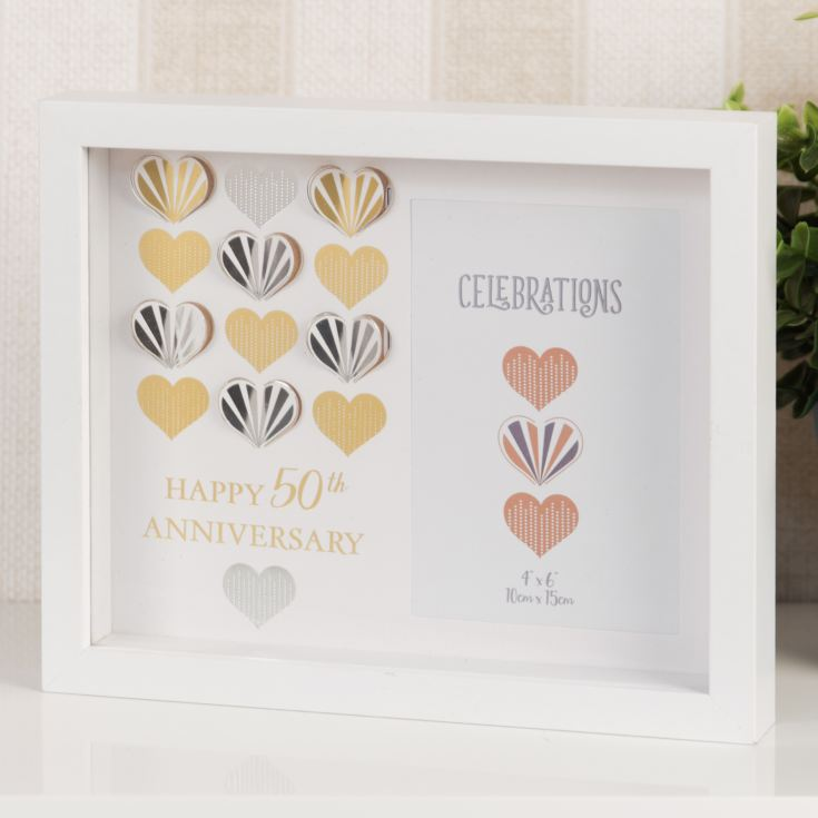 "4"" x 6"" - Celebrations White Wall Frame - 50th Anniversary product image"