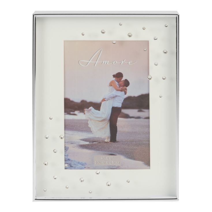 "4"" x 6"" - AMORE BY JULIANA® Silver Plated Frame with Crystal product image"