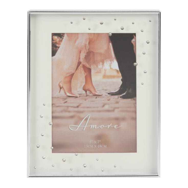 "5"" x 7"" - Amore Silver Plated Box Frame with Crystals product image"