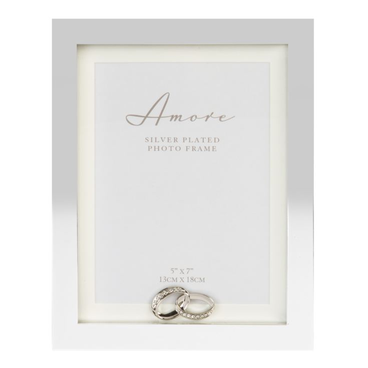 "5"" x 7"" - Amore Silverplated Block Frame with Crystal Rings product image"